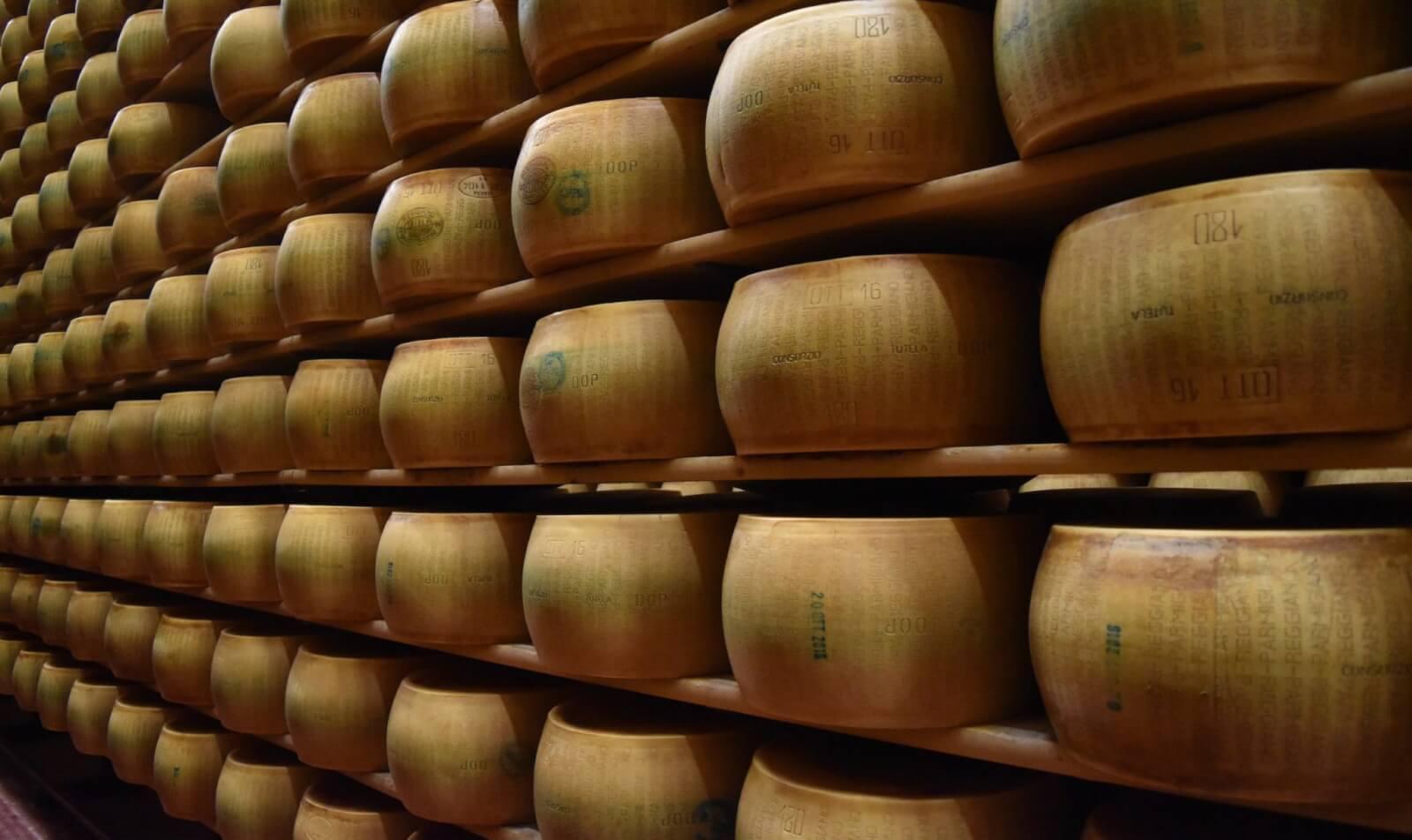 rows and rows of parmigiano reggiano